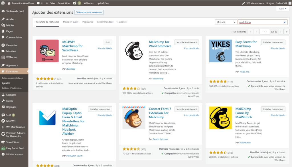Mailchimp extension WordPress